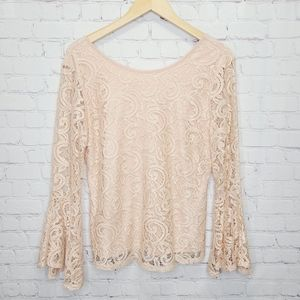 Adrianna Papell Lace Bell Sleeve Top